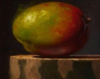 Mango On Sycamore - Fine Art Giclee Print - Original Oil Painting - Still Life - Kitchen Decor