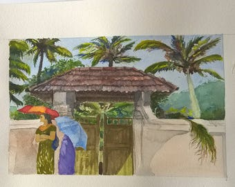 Ladies of Kerala, India - Original Watercolor, Aquarel, Painting