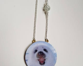 Baby seal polymer clay necklace