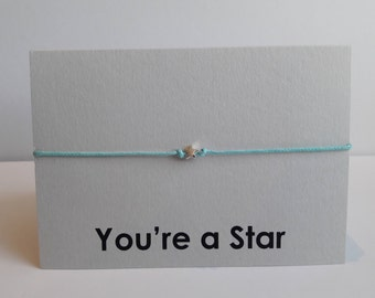 Sterling Silver Star Waxed Cotton Bracelet on You're a Star Greeting Card