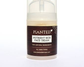 Planted's Nutrient Rich Face Cream 50ml | 100% natural | All skin types | Free postage to UK!