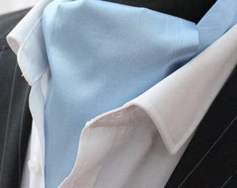 Cravat Ascot.100% Silk Front UK Made Light Blue Habotai Silk + matching hanky.