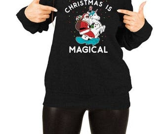 Funny Christmas Sweater Santa Claus Holiday Present Unicorn Gift Ideas For Her Xmas Clothes Off The Shoulder Slouchy Sweatshirt TEP-394