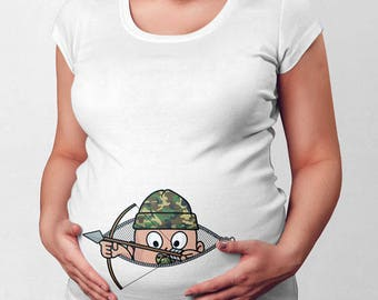Thanksgiving Pregnancy T Shirt Peeking Baby Reveal Hunting Gifts For Expecting Mothers Maternity Announcement Pregnant Mom TShirt TEP-945