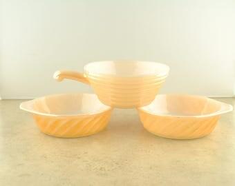 Fire King Peach Lusterware Casserole Dishes - 3