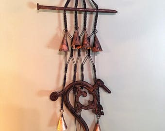 hand made, one of a kind industrial wind chime