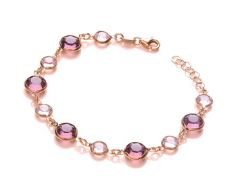 "Rose Gold On Silver 7.5"" Bracelet Set With Pink & Purple Cz Stones"