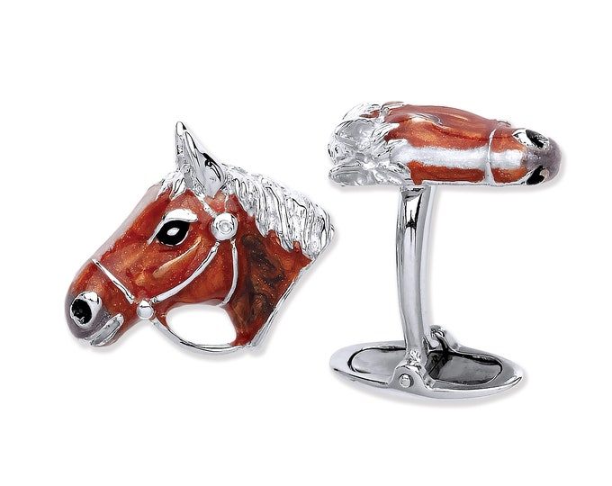 Men's 925 Solid Sterling Silver Enamel Horse Head Cufflinks Hallmarked