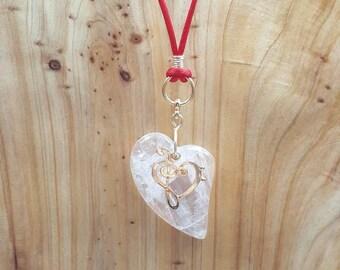 "Clear quartz heart ""Love note"" necklace"