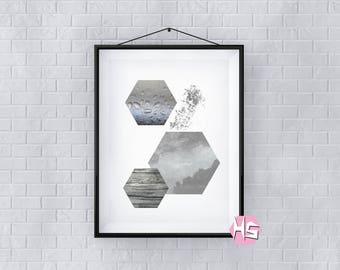 Honeycomb Hexagon Slate Monochrome A2 Wall Art Poster Print TOP QUALITY PRINT