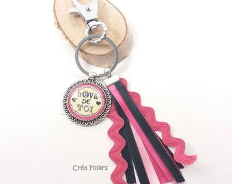 """Keychain """"Love you"""" pink and black"""