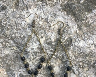 Black Bead and Chain Earrings / Handmade