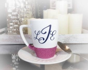 Monogrammed Coffee Mug/ Glitter Coffee Mug/ Personalized Coffee Mug