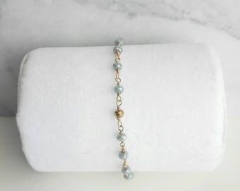 Zoe, gold filled beaded chain bracelet