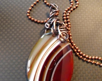 Brown and white banded agate stone pendant necklace copper wire wrapped
