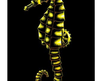 Limited Edition - Robot Seahorse - Scratchboard Art Print - 8.5 x 11""