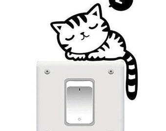 Sticker light switch/Wall sticker sleeping Cat