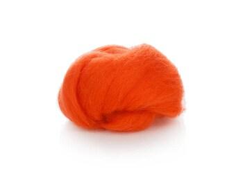 Bright Orange Wool Roving - 24 Microns Merino Wool Roving - Felting Wool Orange - Wool for Spinning - Soft Wool Roving - Needle Felting Wool