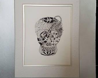Crazy Skull - Zentangle Inspired