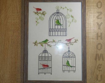Embroidery picture completed cross stitch finished bird cage home decor wall art decoration framed textile housewarming gift for parents