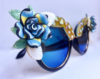 Blue & Yellow Floral Sunglasses - Trippy Blue Mirrored Sunglasses - Iridescent Glass, Abalone, and Floral Eyewear