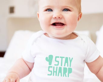 cactus baby clothes, cactus baby shower, baby pun, stay sharp baby, cactus theme, stay sharp