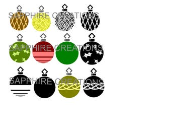 Christmas Ornaments, SVG Files, PNG Files, Silhouette Files, Silhouette Cut Files, Christmas, Ornaments, Merry Christmas