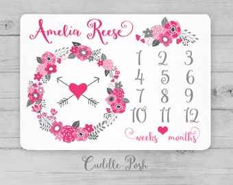 Baby Girl Milestone Blanket, Pink Gray Floral Newborn Photography Backdrop, Month Growth Chart Quilt, Personalized Baby Shower Gift