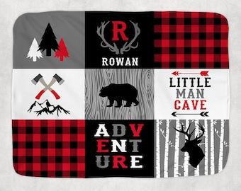 BUFFALO PLAID Blanket Pillow Set, Lumberjack Nursery Bedding, Buffalo Plaid Nursery Quilt, Baby Boy Name Blanket, Lumberjack Swaddle