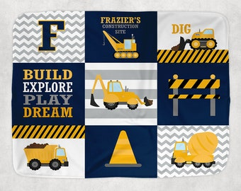 CONSTRUCTION Blanket Pillow Set, Construction Trucks Decor, Construction Trucks Nursery Bedding, Personalized Boy Name, Baby Boy Shower Gift