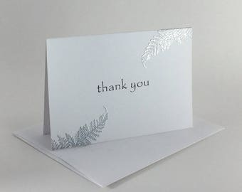 Silver fern embossed thank you card, individually made: A1,  thank you, notecard, fine card, appreciation, SKU TYA11002