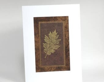 Oak leaf embossed blank card, individually handmade: note cards, fine cards, SKU BLA21054