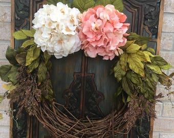 Everyday Hydrangea Wreath, Front Door Decor, Indoor and Outdoor Decor, Hydrangea Wreaths, Front Door Wreaths