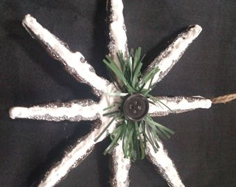 Snow covered snowflake clothespin orniment
