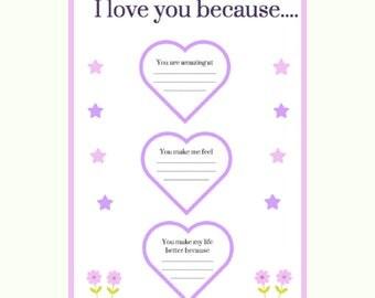 I love you because.....printable