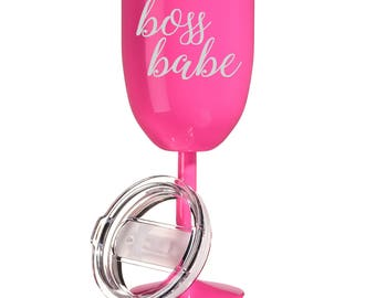 14 oz Double Wall Vacuum Insulated Stainless Steel Wine Tumbler Glass with Lid Boss Babe