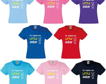 Personalised I'm The Little Sister Girls T-Shirt