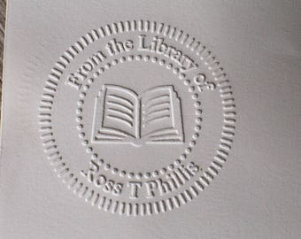 Custom Embosser stamp, From the library of embosser,Library seal, library stamp,book embosser,hand held
