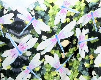 Digital print big dragonfly on green faux printed silk satin fabric 156cm Wide for dressmaking, Decor by the meter YGST -5033