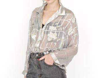 VINTAGE Grey Floral Checked Long Sleeve Retro Shirt