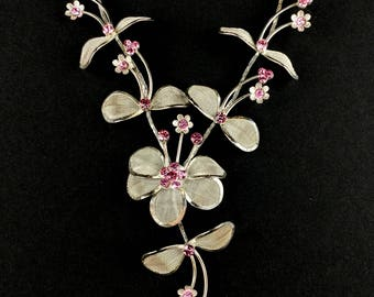 Pink and Silver Flower Necklace, Y necklace, 15 inch necklace with 6 inch extender, great gift for her, female gift idea.