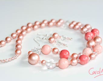 Necklace and Earring Set, Pink, 66cm [S1PI6600012]