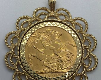 1925 Full Sovereign 9ct Pendant