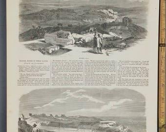 Modern Gaza (1857). Ruins of Askelon. Travel Notes in Bible Lands.    Large Antique Engraving.