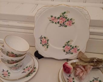 Vintage Tea set, Royal Grafton Pink Wild Rose Tea