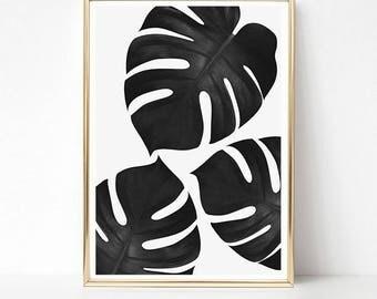 Monstera Print, Tropical Print, Black and White Wall Art, Minimalist Art Prints, Monstera Plant Wall Art, PRINTABLE Art, Botanical Print