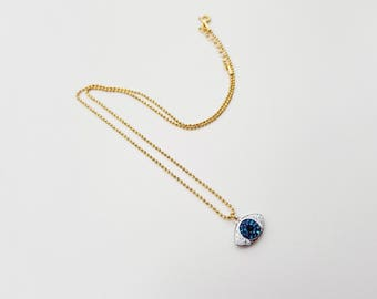 swarovski evil eye choker necklace, evil eye necklace, delicate necklace, swarovski pave pendant, ball chain choker