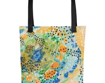 Constellation - Amazingly beautiful full color tote bag with black handle featuring children's donated artwork.