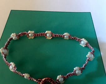 Hand Beaded Copper and Pearl Bracelet