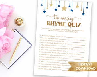 Navy blue Nursery rhyme quiz baby shower game | Twinkle twinkle little star | Printable baby shower game | Baby boy blue theme shower games